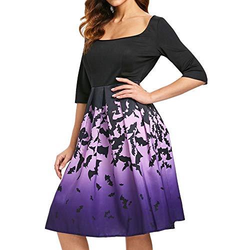 OverDose Damen Glücklich Festliche Karneval Stil Frauen Langarm Hohl Halloween Fledermaus Print Flare Horrible Kleid Party Cosplay Elegante Casual Kleider(C-Violet,2XL)