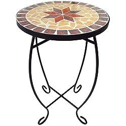 Mesa auxiliar para terraza, superficie de mosaico redonda pequeña, mesa de balcón de mosaico para exteriores, mesa de metal con mosaico para macetas