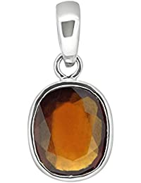 Hessonite Garnet (Gomed) 5.25/7.25/9.25/11.25 Ratti Natural & GJSPC Certified Astrological Gemstone Silver Pendant by ARIHANT GEMS & JEWELS
