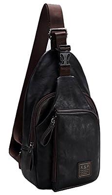 adogo hommes de mode en cuir PU vintage Londres Sac à bandoulière Sacoche bandoulière Randonnée poitrine Sacs Petit sac à dos Cool