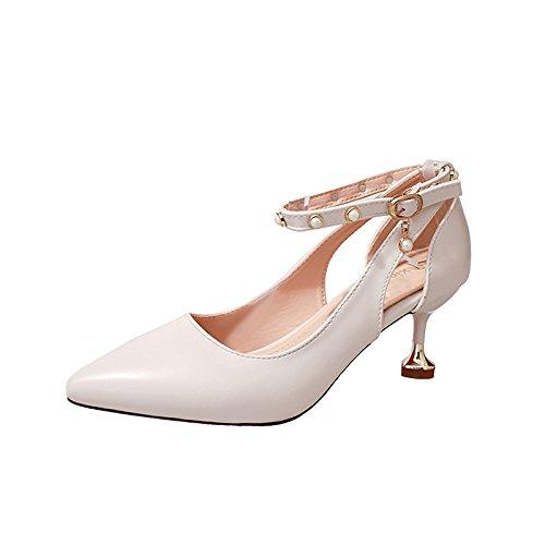 DIMAOL Scarpe Donna PU Molla Comfort Tacchi Stiletto Heel Punta Perla per Il Vestito Beige Marrone Bianco Nero Il beige