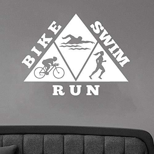 zhuziji Gesunder Lebensstil Fahrrad Schwimmen Laufen Sport Aufkleber Vinyl Wandtattoo Dekoration Zubehör Für Wohnzimmer selbstklebende63x82,5 cm