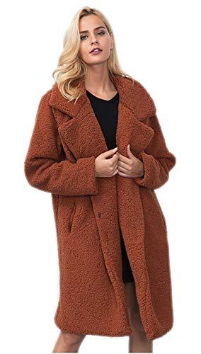 Manica lunga pelliccia sintetica lungo parka outwear fluffy delle donne casuali chunky cappotto per il lavoro quotidiano