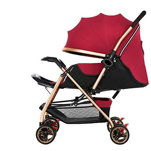 Kinderwagen-Kinderwagen-Trolly-Zwei-Wege-Neugeborene Kinderwagen Buggies können Liegen Falten Regenschirm Kinderwagen Kinderwagen (Color : Red, Größe : 27.16 * 20.07 * 40.15inchs)