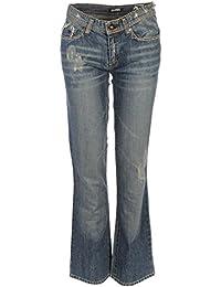FULL CIRCLE Bleu Jeans rigide effet vieilli de coton, taille 28 WP 671