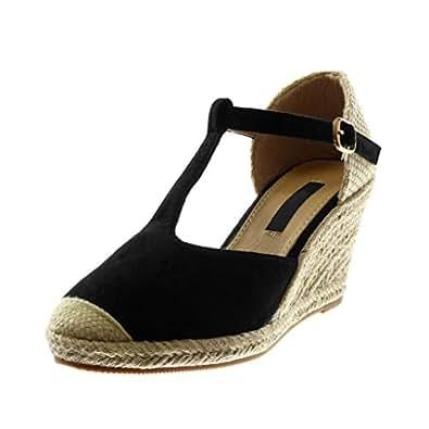 Angkorly - Scarpe Moda Sandali Espadrillas Cinturino con Cinturino alla Caviglia bi-Materiale Donna Corda Intrecciato Tacco Zeppa Piattaforma 8.5 CM - Nero G1509 T 41