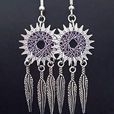 antique bronze Gears /& cogs Handmade Steampunk Dream catcher spiral earrings Feathers