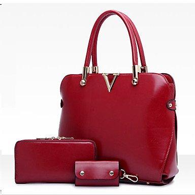 La donna pu canna borsa a tracolla / Tote - blu / rosso / nero / rosso borgogna,Fuchsia Black