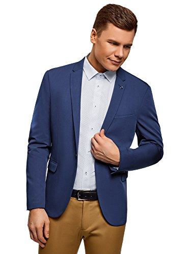 oodji Ultra Men Fitted Jacket with Button, Blue, ES 48 / S