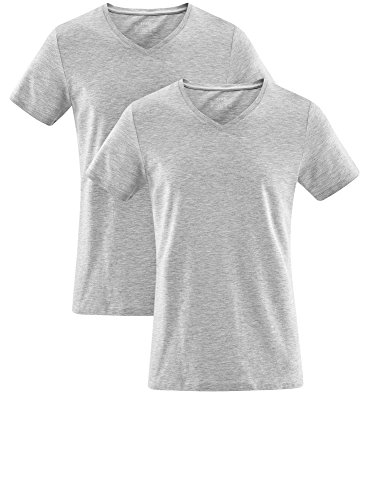 oodji Ultra Herren Tagless T-Shirt mit V-Ausschnitt (2er-Pack) Grau (2300M)