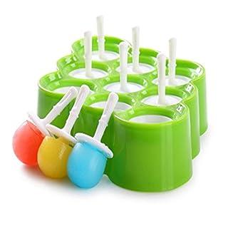 Classic Mini Ice Pop Formen Wiederverwendbare BPA frei Ice Cream Eis am Stiel Maker Formen Set von 9 (Grün)