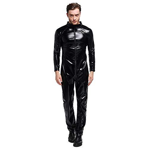 GYH Sexy Dessous Herren Latex Zip Catsuit-Leder Body Leotard Anzug Kostüme Dessous Motorradbekleidung Nachtfeld Bar DS Kostüme,L