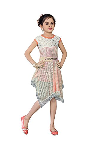 White World Baby Girls Orange Color Birthday Party wear Frock Dress(10_11 Years)