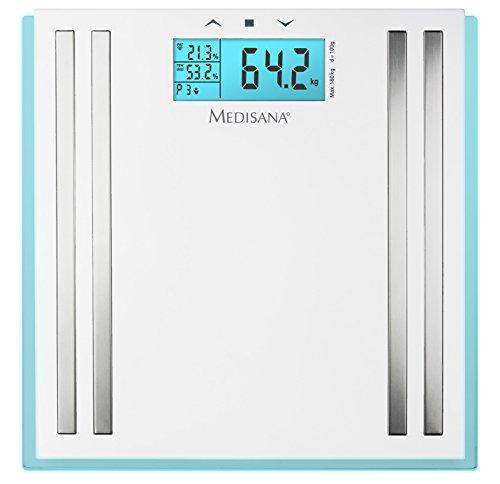 Medisana 40480 ISA Körperanalysewaage zur Körperanalyse von Körpergewicht, Körperfett, Körperwasser, Muskelmasse, Knochengewicht und BMI, Smart Diagnosewaage, digitale Personenwaage misst bis 180 kg
