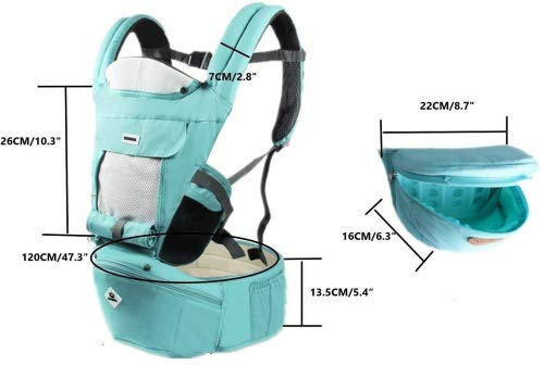 All Seasons 360 Ergonomic Baby Carrier 3 in 1 Backpack with Hip Seat-12 Position,Adapt to Growing Baby (Newborn, Infant & Toddler), Adjustable Baby Carrier Sling,Baby Diaper Bag with Large Capacity tqgold Ergonomic And Comfortable: Ergonomic Butterfly hip seat design to ensure baby's hips and legs are positioned correctly and comfortably, minimizes leg bending and prevents O-LEG Breathable And Soft: 100% cotton with high quality 3-D mesh keeps you and your baby cool. Removable shutter can keep warm in winter and cool in summer, suitable for all seasons use. Wide and sturdy lumbar belt ensures baby's weight is distributed evenly over the carrier's hip and shoulder areas for comfort 3 in 1 and All Carry Positions: The Waist Stool (bucket seat) could be detached from Upper Strap by unbuckling the connection buckles. Both Upper Strap and Waist Stool can be used separately. Front inward (fetal, infant, or toddler settings), front outward, hip or backpack carry options all in one. Face baby in or out. Wear on the hip or back as baby grows. 13