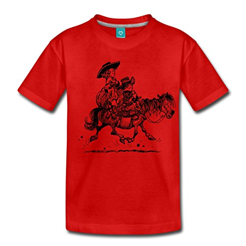 416S fL65yL BEST BUY UK #1Thelwell Western Riding Lazy Cowboy And Pony Kids Premium T Shirt by Spreadshirt®, 122/128 (6 years), red price Reviews uk