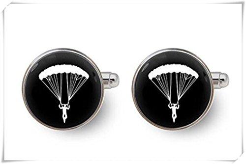 Parachutiste Cadeau Boutons de manchette pour homme - avec boîte cadeau, sport, boutons de manchette de mariage Boutons de manchette