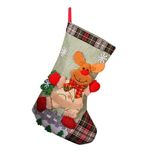 Calzini Natalizi Sacchetto Regalo Di Natale Borsa Per Caramelle Per Bambini Regalo Di Natale Ornamenti Per Alberi Di Natale Decorazioni Per Feste Di Natale Medio Babbo Natale Elk Doll Calze 30 * 20 Cm