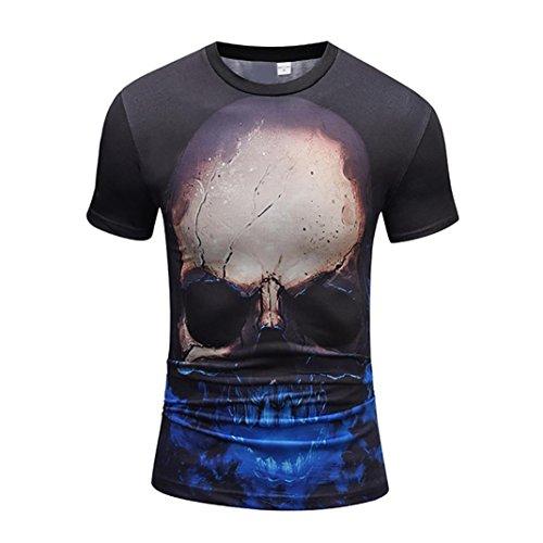 Kanpola T-Shirt Herren Schwarz Adler Totenkopf 3D Print O-Neck Slim Fit Germany Men Skull Bedruckte T-Shirts Shirts Tops