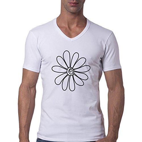 Flowers Nature Blossom Plant White Black Herren V-Neck T-Shirt Weiß
