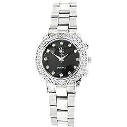 Zeigt Damen Stahl Silber Diamanten CZ GG Luxe 2126