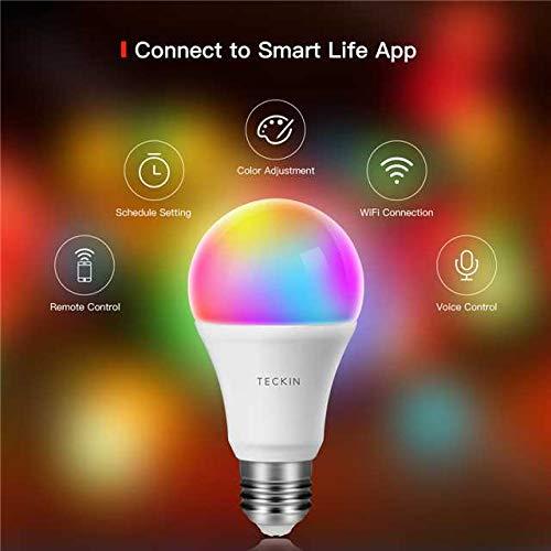 Smart LED Lampe Glühbirne TECKIN WLAN Birne E27 RGB dimmbare mit mehreren Farben Wifi Glühbirne 800LM, steuerbar via App; kompatibel mit Alexa (Echo, Echo Dot) Google Home Fernbedienung, 2 Pack