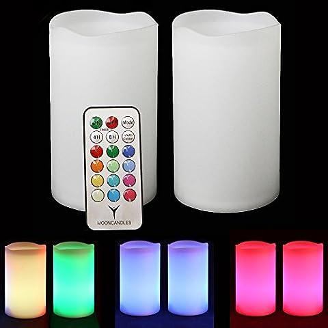 Frostfire candlezest–2solar impermeable al aire libre Cambio de color velas con mando a distancia y