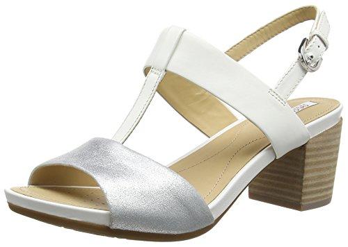 Geox D SYMI B, Sandales ouvertes femme Blanc - Blanc/argenté (C0007)
