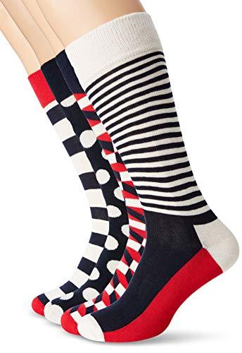 Happy Socks Stripe Gift Box, Calcetines para Hombre, Azul (Navy 6000), única (Talla del Fabricante: 41-46)