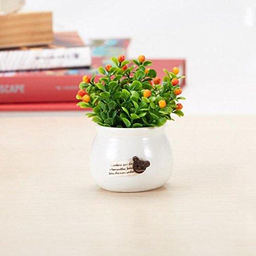 Aoligei Keramik Runde Obst Grün Fake Blume Home Wohnzimmer Simulation Blume Set Dekoration pro Becken 6*9cm