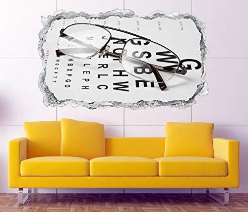 3D Wandtattoo Arzt Auge Augenarzt Brille Test Beruf Wand Aufkleber Durchbruch Stein selbstklebend Wandbild Wandsticker 11N029, Wandbild Größe F:ca. 97cmx57cm