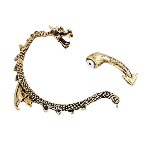 Damen Ohrringe Schmuck Ohrstecker stecker DAY.LIN Frauen Gothic Punk Dragon Ohr Manschette Ohrstecker (Gold) (Geldbörse Swarovski-kristall-leder-handtasche)