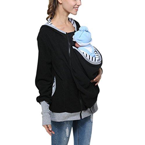 Yvonnelee Tragejacke für Mama und Baby Kängurujacke Jacke Umstandsmode Kapuzenjacke mit Tragefunktion Schwarz-M