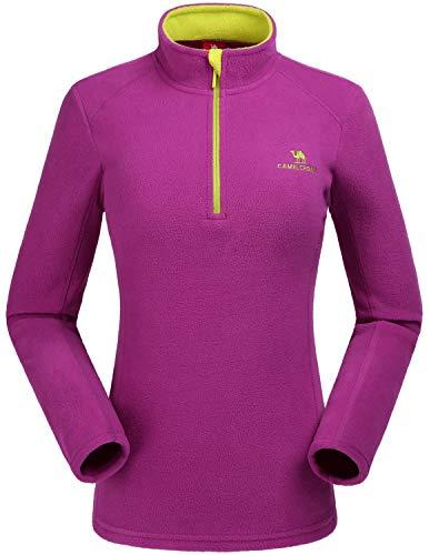 CAMEL CROWN Damen Fleecejacke Warm Übergangsjacke Sweatjacke Microfleece Outdoorjacke für Freizeitsport Winddicht Damenjacke Herbst Dünne Jacke