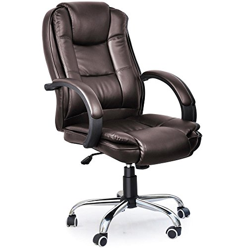 Tinxs Luxury Office Swivel Leather High Back Executive Chair Computer Desk Office Chair (Brown, style A)