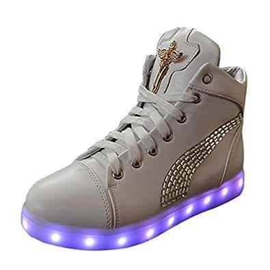 Dayiss 918, Baskets mode fille semelle extérieure à LED coloré clignotant 7 couleurs ornement de faux diamant sur le côté avec la câble USB cadeau parfait (37, Blanc (ornement de faux diamants))