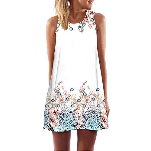 XuxMim Frauen-beiläufige Feste gekräuselte Taschen O-Ansatz verschieben tägliche geknöpfte Kleider(Weiß-5,Small)