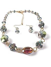 338d9680f546 Conjuntos de collar y aretes de bisutería 14 pulgadas collar largo para las  mujeres hecho a