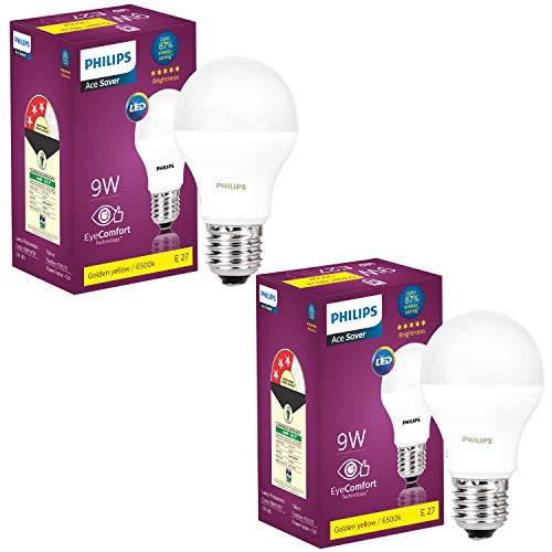 Philips Base E27 9-Watt LED Bulb (Golden Yellow,Pack of 2)