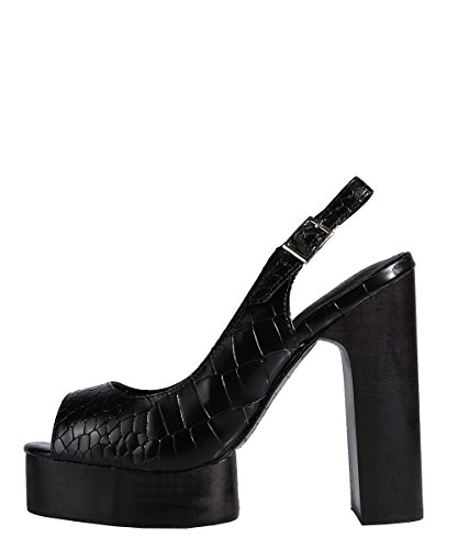 Jeffrey Campbell Michlene Black Calf Sandal - Sandali Neri In Pelle Black