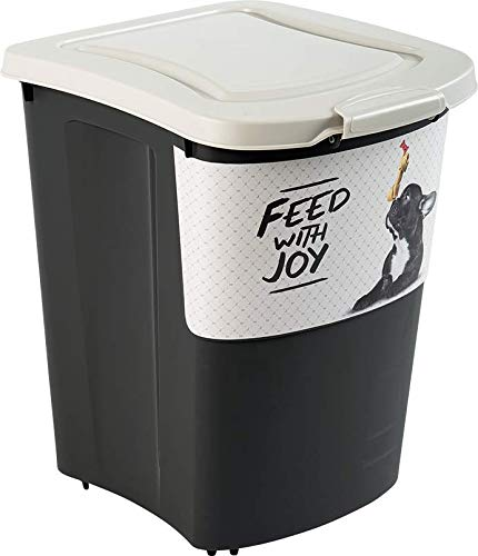 Rotho Archie Tierfutterbehälter 38 l, Kunststoff (PP), schwarz mit Motiv 'PET feed with joy', 38 Liter (41 x 37 x 50 cm)