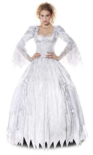 MHPY HalloweenErwachsene Frauen Halloween Disguise Kleider Corpse Countess Kostüm White Ghost Bride Kostüme Scary Queen Princess - Kind Corpse Bride Kostüm