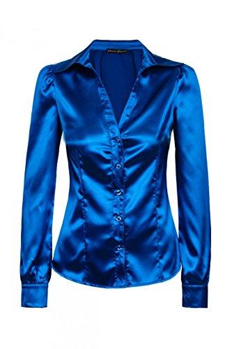Laeticia Dreams Damen Bluse Langarm S M L XL XXL Royalblau