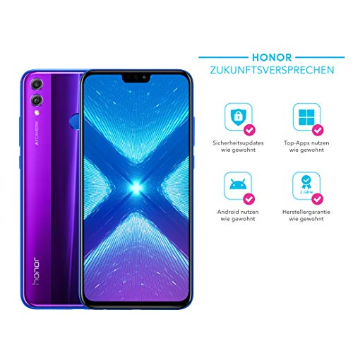 Honor 8X 128 GB Smartphone B&le (16,5 cm (6,5 Zoll), Dual-Kamera, Dual-SIM, Android 8.1) + gratis Honor Flip Protective Cover [Exklusiv bei Amazon] - Deutsche Version, Phantom Blue