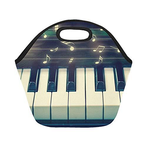 Isolierte Neopren-Lunchpaket-Nahaufnahme-Tastatur-Klavier-Musikanmerkungen musikalische große wiederverwendbare thermische starke Mittagessen-Taschen-Taschen für Brotdosen für im Freien arbeiten (Musikalische Tastatur Tasche)