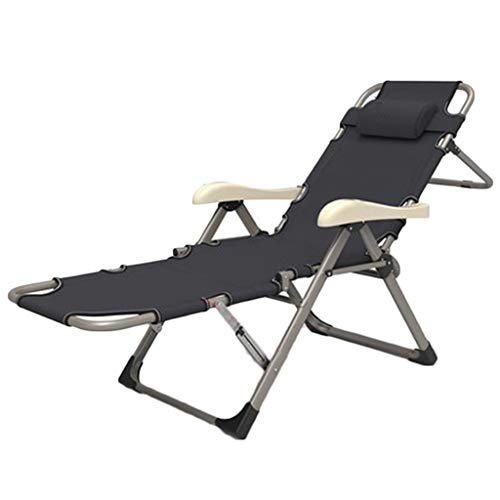 Metallbetten Klappbett Büro Mittagspause Multifunktionsklappbett Balkon Lounge Chair Home Einzelbett Tragbare Rückenlehne Fauler Stuhl (Color : Black, Size : 184 * 67 * 42cm)