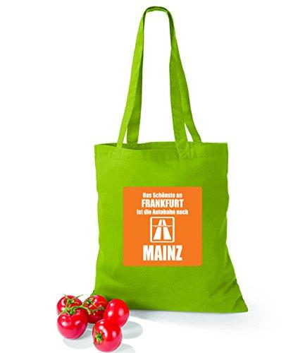 Sacchetto Di Cotone Artdictat La Cosa Più Bella Di Francoforte È La Superstrada Per Mainz Kiwi Giallo