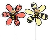 Windspiel Windrad Gartendeko Terasse Balkon Biene oder Marienkäfer Stückpreis