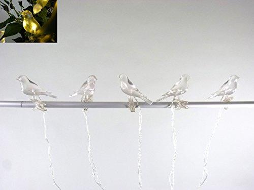 Solar Lichterkette 5 flammig Vogel mit Clip zum Klemmen, LED weiß Solarleuchte Dekoration