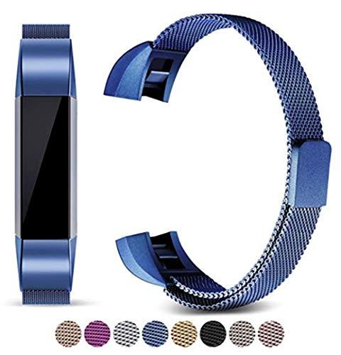 Bandkompatible Alta/Alta HR-Metallbänder, Verstellbare Edelstahl-Ersatzbänder, Magnetisches Fitness-Armband,Blue,Large